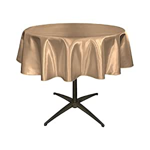 LA Linen 新娘缎面圆形桌布 灰褐色 58-Inch TCbridal58RTaupeB13