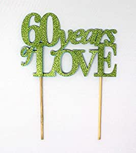 All About Details 60 Years of Love Cake Topper, 1 件,60 周年纪念,60 岁生日 石灰绿 CAT60YO