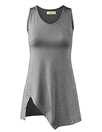 LL Womens Sleeveless Solid / Tie-Dye Tunic Tank Top - Made in USA  Wt879_heather_grey Small