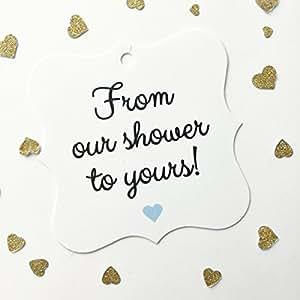 24 个新娘淋浴或婴儿淋浴礼品标签,从我的/我们的淋浴到您 (FS-67) Our - Sky Blue FS-67-OSB
