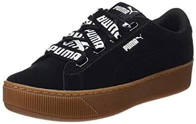 PUMA 彪马 女士 Vikky 板鞋 丝带低帮运动鞋 Black (Puma Black-puma Black) 3.5 UK