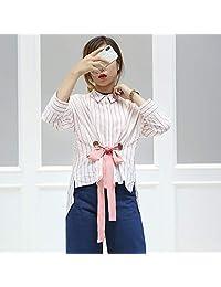 VM 2018春季新款条纹系带两穿七分袖衬衫女