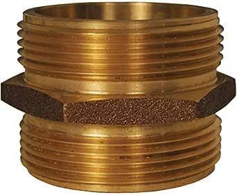 """Dixon DMH6060F-D 6"""" MNPT x 6"""" MNST DLB 公头 BR 六角奶嘴,内径 6"""" 黄铜"""
