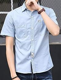 MPSMOVE思慕夫 2019夏季男装 新款翻领时尚衬衫 牛仔衬衫 牛仔短袖上衣 衬衫男 休闲衬衫J703【93】