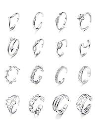 Jstyle 16 件女士可调趾环各种类型 乐福露趾戒指套装 女士夏威夷*礼品珠宝 A:银色