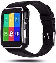 IOQSOF 蓝牙智能手表,适用于 Android iOS iPhone、Samsung Huawei 索尼*追踪器支持微型 SIM 卡,男女、儿童、男孩、弧形屏幕智能手机