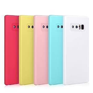 Pofesun *【超薄】防刮 TPU 橡胶软皮硅胶保护套适用于三星 Galaxy Note 8 White, Blue, Pink, Yellow, Rose