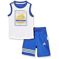 adidas Kids 阿迪达斯 婴儿 婴童针织套服 短袖 CX3475 Top:高光蓝 S18/白 Bottom:高光蓝 S18/白 IB F TANK SET