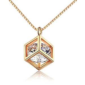 O4U 钻石切割精致立方体镀金吊坠项链