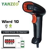 Yanzeo L1000 1D 有线手持条形码扫描器阅读器黑色 USB 激光条形码扫描仪(1 年保修)