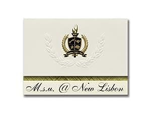 """签名公告洛杉矶全球研究学院(加利福尼亚州洛杉矶)毕业通知,总统精英包 25 号,带金色和黑色金属箔印章 M.s.u. @ New Lisbon (New Lisbon, NJ) 6.25"""" x 11.44"""" 奶油色"""