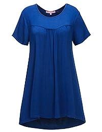Regna X 女式短袖喇叭束腰上衣紧身裤飘逸衬衫(孕妇/加大码/标准尺码)