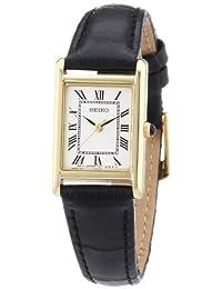 Seiko 女士石英不锈钢皮革休闲手表,颜色:黑色(型号:SXGN56)