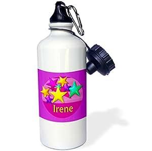 "3dRose wb_53022_1""粉色背景上鲜明的彩色星星,名字 IRENE"" 运动水瓶,21 盎司,白色"