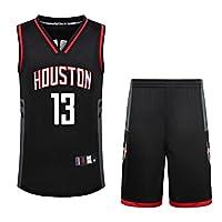 夏季NBA篮球服套装 火箭队13号哈登球衣V领刺绣 【上衣 短裤】两件套