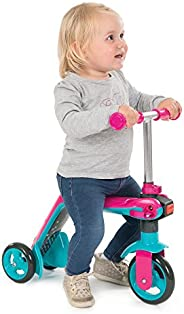 Smoby Pink 可逆2合1踏板车| 明亮多彩的设计| 巧妙地从3轮学习型自行车切换到3轮摩托车| 适用于18个月以上的人群