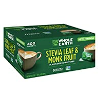 WHOLE EARTH SWEETENER CO. Stevia & Monk Fruit Sweetener, Erythritol Sweetener, Sweet Leaf Stevia Packets, Sugar Substitute, Natural Sweetener, 400 Count