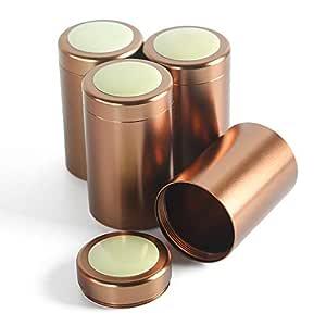 茶罐套装,密封盖,家庭厨房罐,茶杯,糖罐,散装茶叶罐,储存箱 咖啡色 3 4PC/5.3OZ