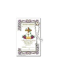 Needzo *次圣餐纪念念珠翻领针,祈祷卡,5 7/8 英寸