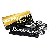 RADECKAL 黑色 ABEC 9 滑板轴承、滑板、长板、巡洋舰、直排轮滑、滚轮滑冰、预润滑、高精度评级,持久(1 套 8 个)