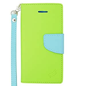 Eagle Cell Flip Wallet PU Leather Protective Case for Apple iPhone 6 Plus - Retail Packaging - Light Blue/Green