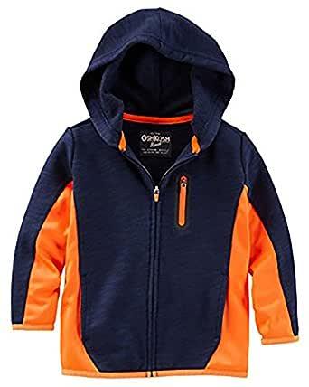 Oshkosh 男童拼色法国厚绒连帽衫;灰色/橙色 (8)