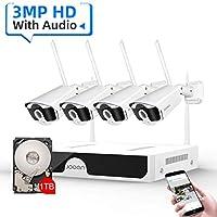 JOOAN 3MP 无线*摄像机系统,8通道NVR&4Pcs FHD 1536P(比1080P更清晰)音频记录闭路电视摄像机,防水夜视,运动警报(带 1TB 硬盘)