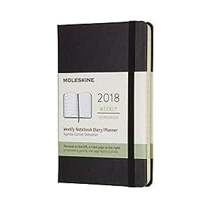 Moleskine 2018年12个月经典硬面周记本 黑色 (口袋型)