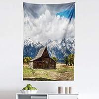 Ambesonne 怀俄明州挂毯,复古乡村木屋和雪山风景,带蓬松重云,织物壁挂装饰卧室客厅宿舍,76.2 厘米 X 114.3 厘米,多色