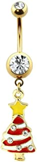 Covet Jewelry 镀金搪瓷宝石圣诞树*钢脐环