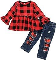 Girl Clothes 小童短裤套装棉质休闲外套牛仔裤 2 件套裤子套装 红色(Red Plaid) 3T / 4T