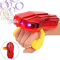 Auney 手持式泡泡机带灯光,自动 LED 泡泡机 2000+ 每分钟泡泡机,红色泡玩具带声音,适合 1 2 3 4 5 岁儿童 Bubble Machine New