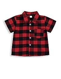 幼儿男童女童服装绅士服装红色格子法兰绒正式衬衫带纽扣儿童服装 1-6T 红色短裤 4-5T