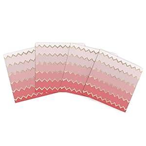 Kess InHouse Monika Strigel Avalon 珊瑚渐变粉色 V 形图案户外餐垫,38.1 x 38.1 厘米,4 件套
