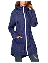 ZEGOLO 防雨夹克风衣女式轻质防水雨衣可收纳活动连帽风衣