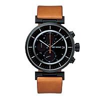 Issey Miyake W 中性款石英手表,黑色表盘,米色皮革表带 SILAY006