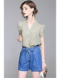 法贝莱 欧美2018夏季新款女装套装气质优雅V领短袖雪纺衫修身短裤系带牛仔套装K107