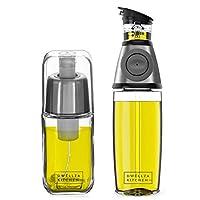 DWELLZA KITCHEN - 橄榄油分配器和油还原器套装 - 473.18 g Oil Pourer 奶瓶防滴喷口和量量量容器,170 克 橄榄油喷雾器,用于烹饪,不含双酚 A,不锈钢