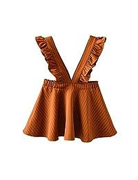 Yiner 幼童女童吊带裙褶皱连衣裙派对连衣裙套装