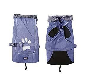 TDC 狗狗尼龙防水户外加厚服装适用于冬季温暖外套 with reflecting 爪子设计 蓝色 XXL