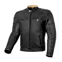 SHIMA WINCHESTER 復古皮革男式摩托車復古夾克帶盔甲(L 碼,黑色)