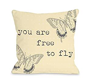 Bentin 家居装饰 Bella 芭蕾舞人抱枕 OBC Free to Fly Sweet Butterfly - Yellow 18x18 Pillow 12788PL18