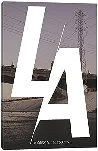 """iCanvasART 洛杉矶 (34° N, 118.2° W) 油画印刷品,152.4cm x 3.81cm x 101.6cm 26"""" x 18"""" CCB4-1PC3-26x18"""