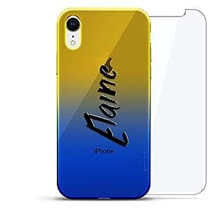 奢华设计师,3D 印花,时尚,高端,高端,Chameleon 变色效果,360 保护玻璃包手机套 iPhone Xr - Dusk Blue Tamara,现代字体名字LUX-IRCRM2B360-NMELAINE1 NAME: ELAINE, HAND-WRITTEN STYLE 蓝色(Dusk)