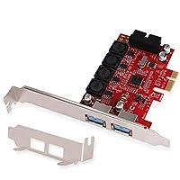 LTERIVER PCIE 至 1X 19Pin USB 3.0 标头和 2X USB-A 端口 - PCIE USB 3.0 5Gbps 扩展卡 适用于 Windows10、8.1、8、7、XP、服务器(32/64)系统 - 配备智能电源控制技术 (PCE-IN2EX2)