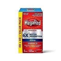 Megared 高級 800毫克 Omega-3魚油補充劑, 6倍吸收軟膠囊(一盒80粒),包裝可能有所不同
