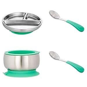 Avanchy 不锈钢幼儿喂食分餐盘 + 硅胶吸盘,婴儿,儿童或儿童餐盘。 18/8,不含双酚 A,不含双酚 A、铅和邻苯二甲酸盐。 Gift Set Green