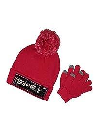 DKNY 女童翻转亮片针织帽,配备 Tech Touch 手套套装