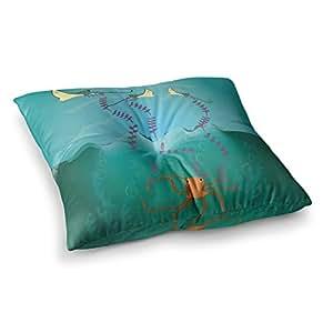"KESS InHouse Famenxt""Octopus Flying Manta Rays"" 蓝绿色方形地板枕 多种颜色 23"" x 23"" FM1011ASF01"