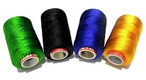 GOELX 闪亮软丝线串珠、流苏和珠宝制作 Green, Black,Peacock Blue,Yellow 4 Colours Threads Shiny-Soft-Silk-Threads-GBBG